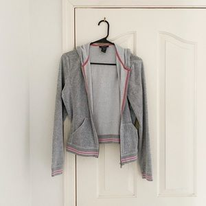 Express Gray Velour Zip Up Hoodie With Pink Trim
